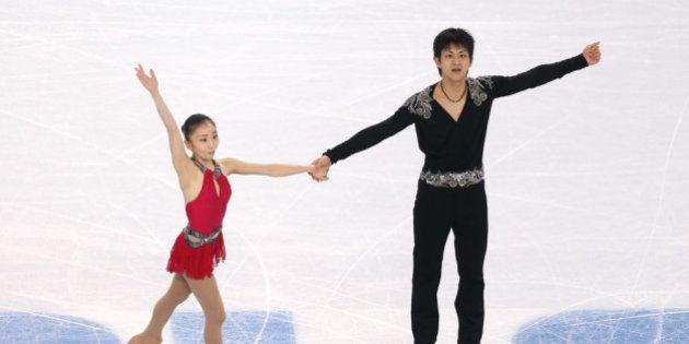 SOCHI, RUSSIA - FEBRUARY 11: Narumi Takahaski and Ryuichi Kihara of Japan compete during the Figure Skating...