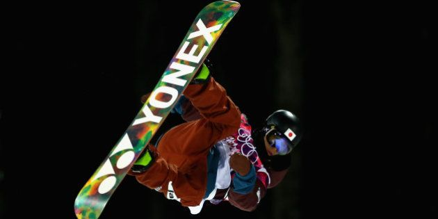 SOCHI, RUSSIA - FEBRUARY 10: Ayumu Hirano of Japan trains in the Snowboard Halfpipe official training...