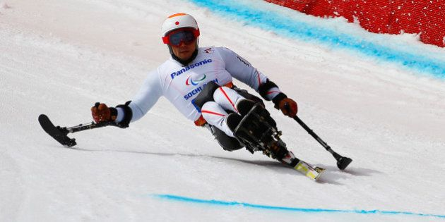 SOCHI, RUSSIA - MARCH 08: Akira Kano of Japan competes in Mens Downhill Sitting during day one of Sochi...