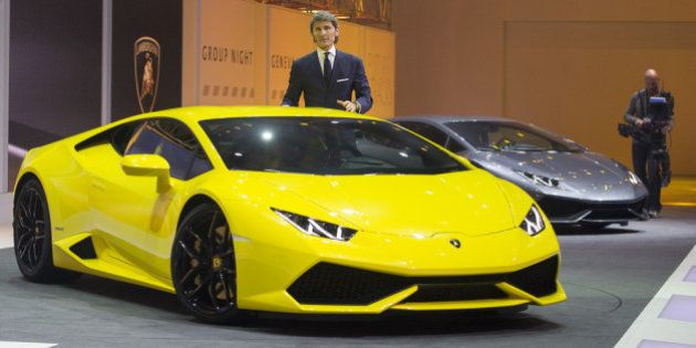 GENEVA, SWITZERLAND - MARCH 03: Lamborghini President and CEO Stephan Winkelmann presents the new Lamborghini...