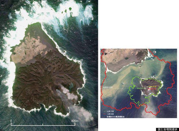 西之島とくっついた「新島」東京ドームの6倍に成長