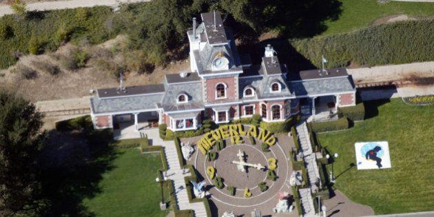 LOS OLIVOS, CA - NOVEMBER 18 : An aerial photo shows a Santa Barbara County Sheriff's vehicle in front...