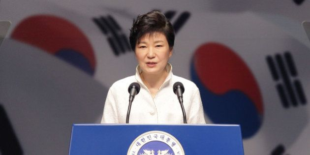 SEOUL, SOUTH KOREA - AUGUST 15: South Korean President Park Geun-Hye speaks during the 69th Independence...