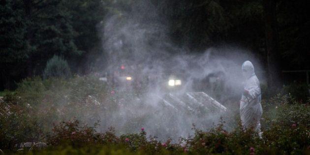 TOKYO, JAPAN - AUGUST 28: A workman sprays pesticide in Yoyogi Park on August 28, 2014 in Tokyo, Japan....