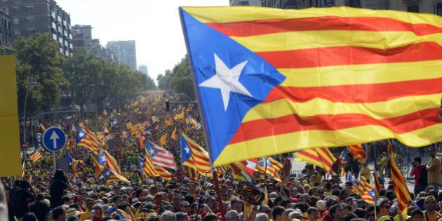 BARCELONA, SPAIN - SEPTEMBER 11: Catalans march during a Pro-Independence demonstration as part of the...
