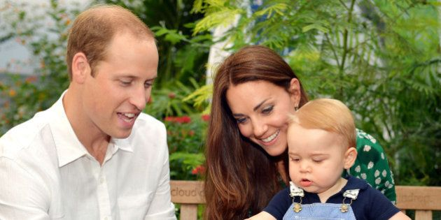 LONDON, ENGLAND - JULY 02: (EDITORIAL USE ONLY) Catherine, Duchess of Cambridge holds Prince George as...