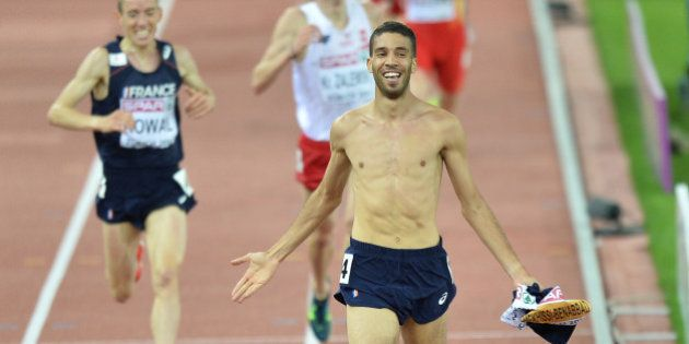 ZURICH, SWITZERLAND - AUGUST 14: French athlete Mahiedine Mekhissi-Benabbad wins gold medal in the Men's...