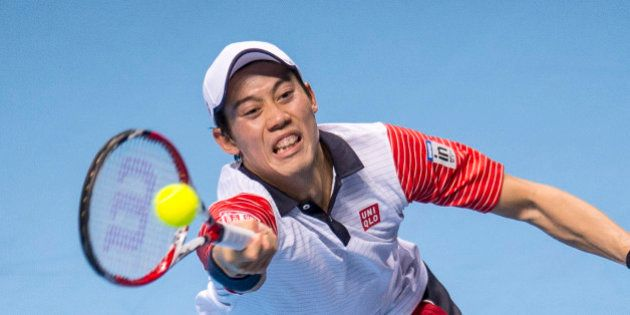LONDON, ENGLAND - NOVEMBER 15: Kei Nishikori of Japan in action during the round robin singles match...