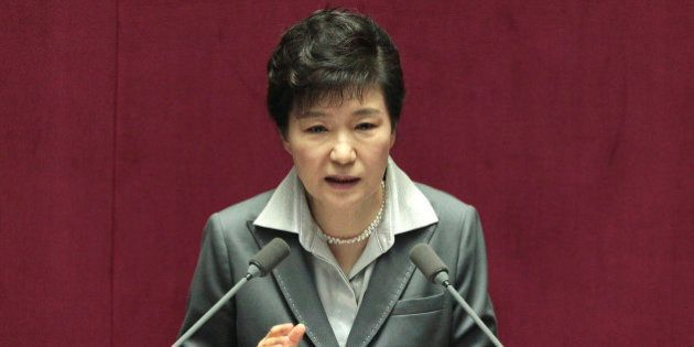 South Korean President Park Geun-hye delivers a speech on the government budget at the National Assembly...