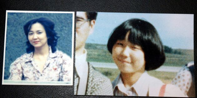 TOKYO - OCTOBER 3: Photographs of Japanese abductee, Megumi Yokota, at 13 (R) and at 20, taken in North...