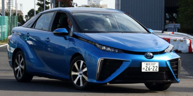 A Toyota Motor Corp. Mirai fuel-cell powered vehicle is driven during a test drive in Tokyo, Japan, on...