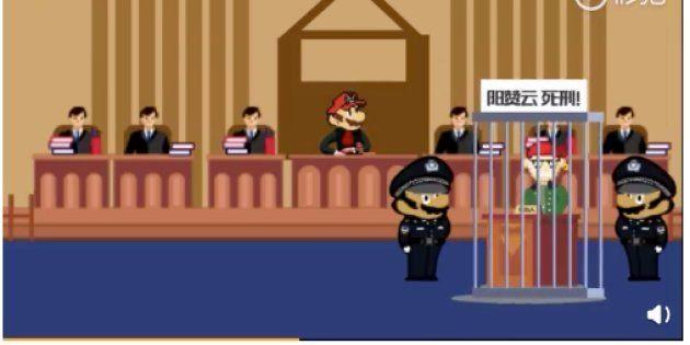 死刑判決を宣告するキャラクター