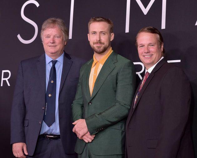 プレミア試写会に登場したリック・アームストロング(左)、ライアン・ゴズリング(中央)、マーク・アームストロング