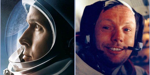 映画「ファースト・マン」のポスター写真(左)とニール・アームストロング氏本人