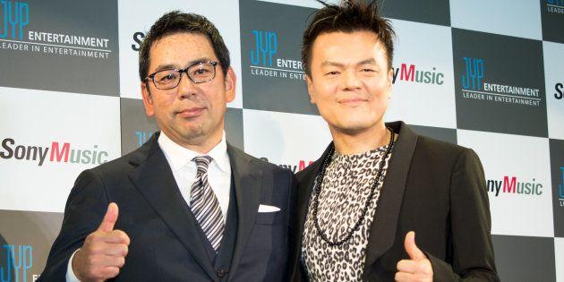 ソニーミュージックエンタテインメント代表取締役の村松俊亮氏、パク・ジニョン氏