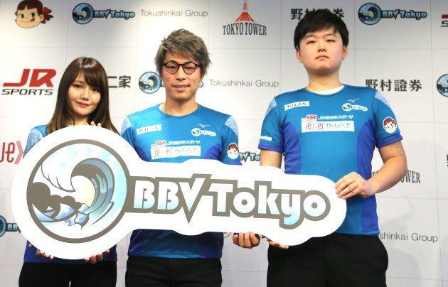 (左から順に)夏山いちか選手、応援サポーターの田村淳さん、あいちぇん選手