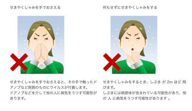 咳エチケットの悪い例
