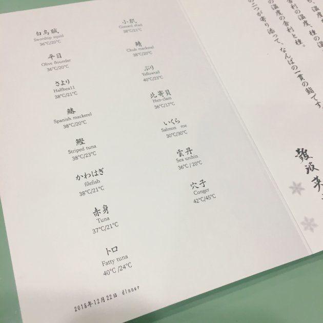 「鮨なんば日比谷」がお客さんに渡しているネタの温度表