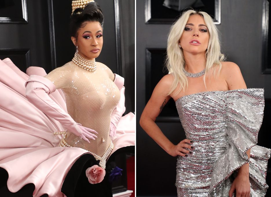 Cardi B and Lady Gaga on the Grammys red