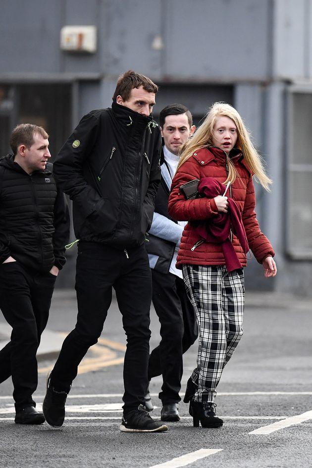 The mother of Alesha MacPhail, Georgina Lochrane, arrives at Glasgow High
