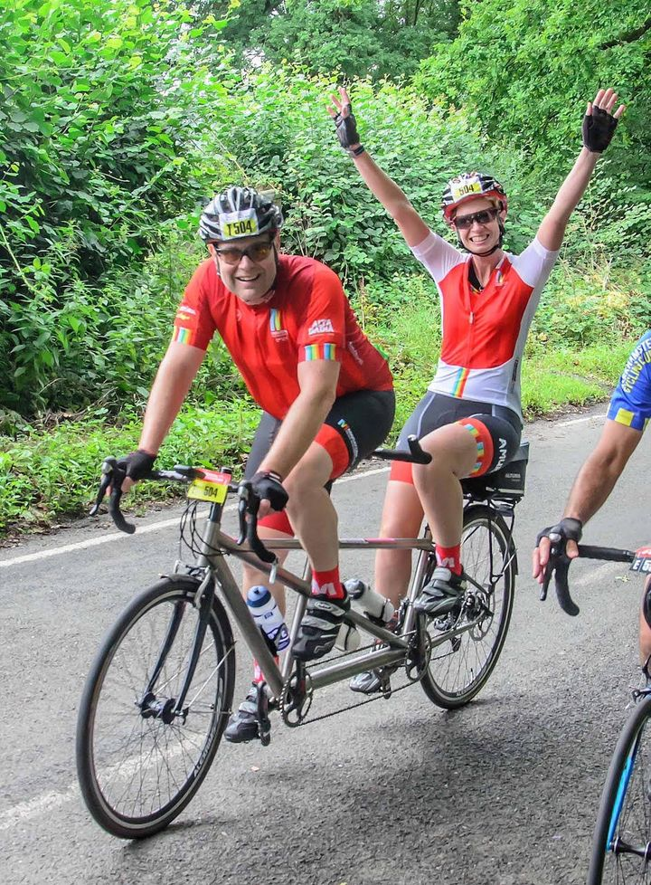 The couple completing Ride100 ontandem.