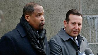 Attorneys Ronald Sullivan, left, and Jose Baez, speak during a news conference outside New York Supreme Court, Friday, Jan. 25, 2019, in New York. Sullivan and Baez will represent Harvey Weinstein in the sexual assault case against him. (AP Photo/Julio Cortez)