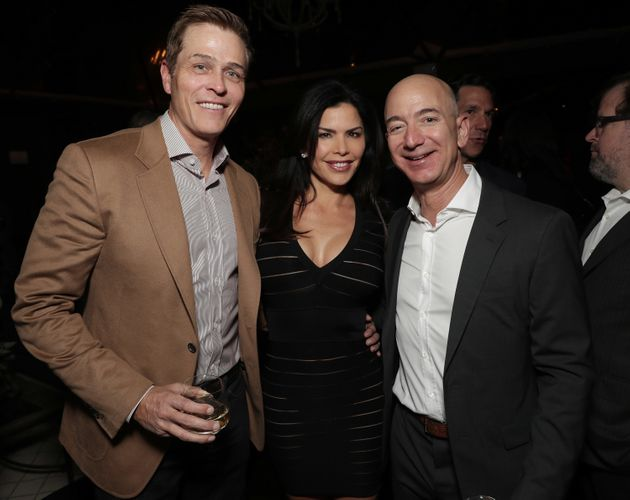 WME's Patrick Whitesell, Lauren Sanchez and Amazon CEO Jeff Bezos attend Jeff Bezos and Matt Damon's...