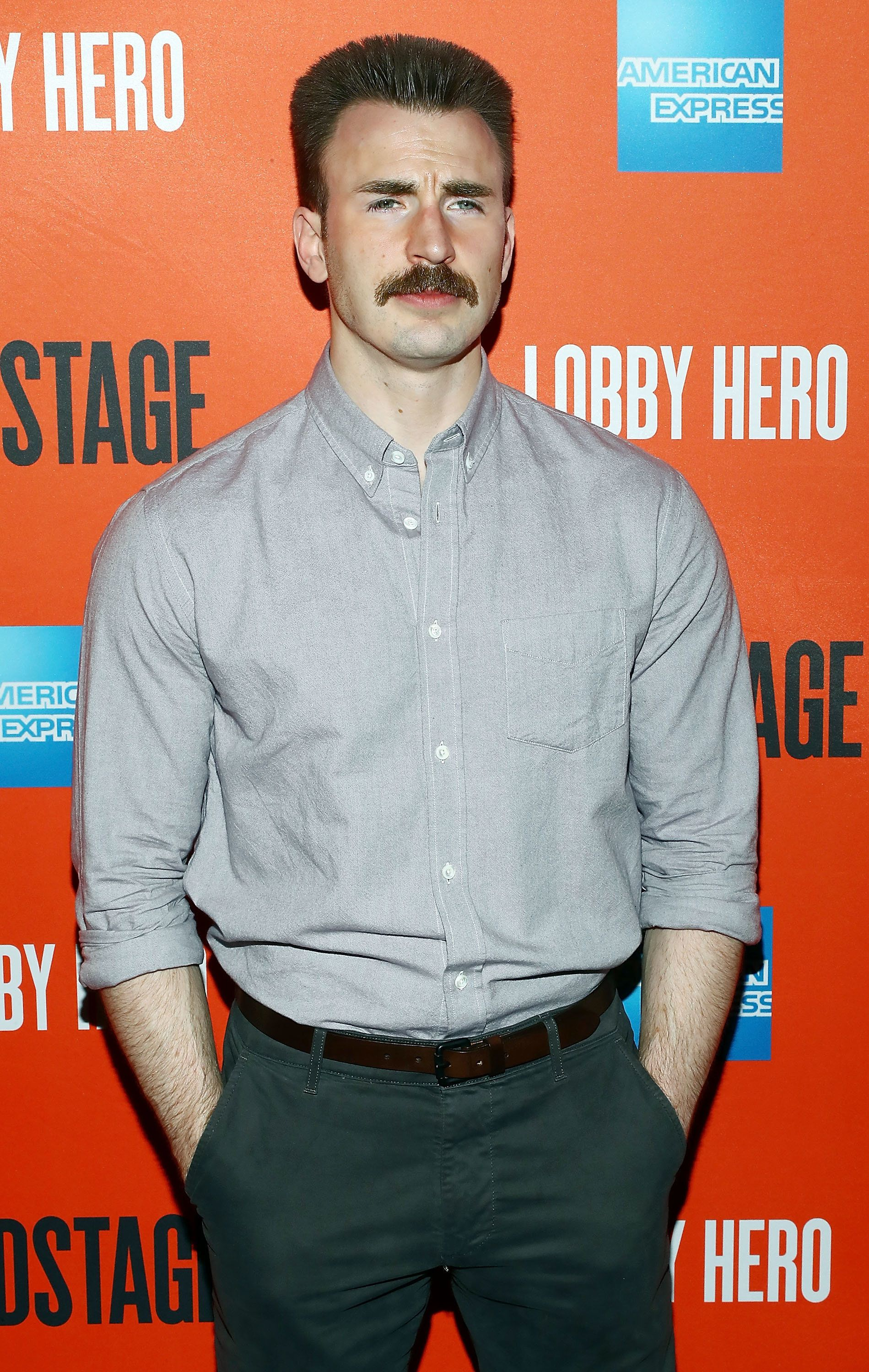 "Actor Chris Evans attends the ""Lobby Hero"" Broadway opening night party in New York last"