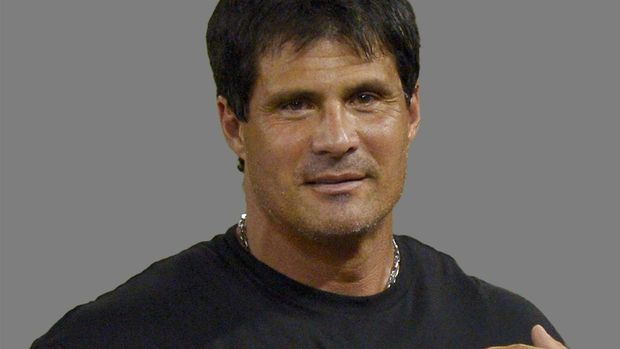 Jose Canseco headshot, former professional baseball player, graphic element on gray