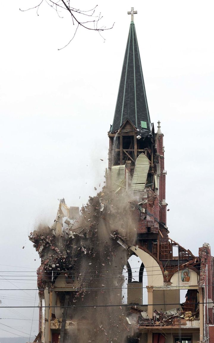 St. Joseph's Church in Nanticoke, Pennsylvania, was demolished on Monday.