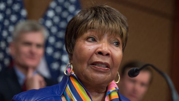 UNITED STATES - DECEMBER 05: Rep. Eddie Bernice Johnson, D-Texas, speaks during a news conference in the Capitol Visitor Center to call on the Senate to pass mental health reform legislation, December 05, 2016. (Photo By Tom Williams/CQ Roll Call)