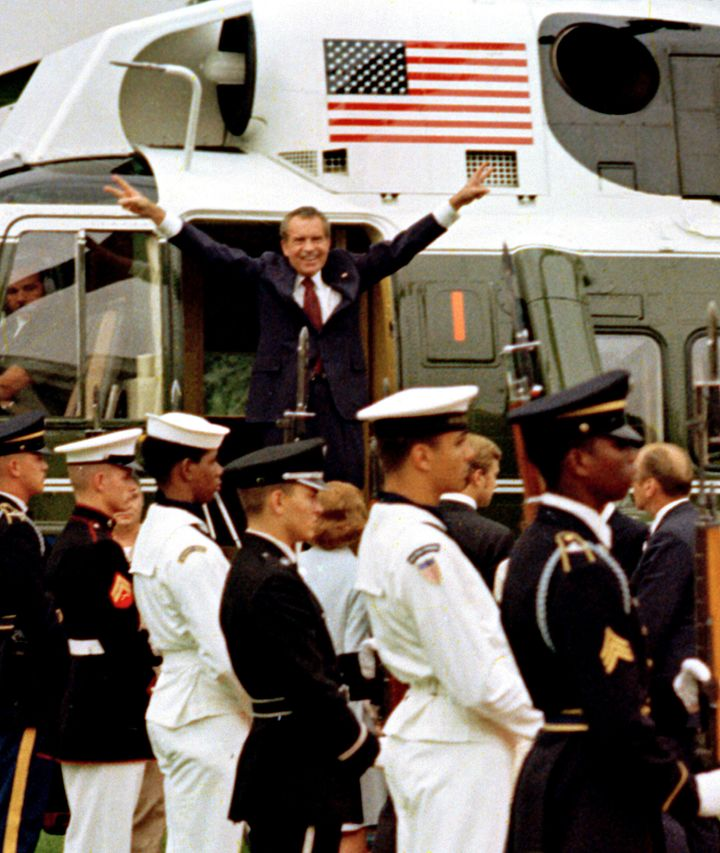 President Richard Nixon leaves the White House on Aug. 9, 1974, after resigning office to avoid being impeached.