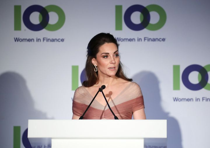 The Duchess of Cambridge, patron of 100 Women in Finance's Philanthropic Initiatives, delivers a speech at a gala dinner in a