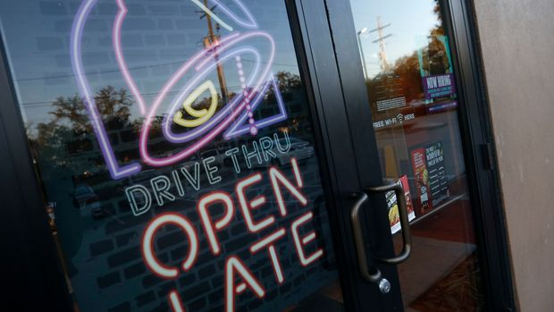 FILE- This Dec. 15, 2016, file photo shows a Taco Bell in Metairie, La. Yum Brands, Inc. reports financial earnings Thursday, Feb. 8, 2018. (AP Photo/Gerald Herbert, File)
