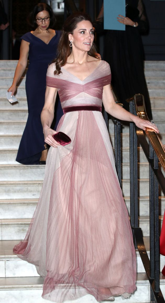 The duchess wore her hair half-up in one of her trademark