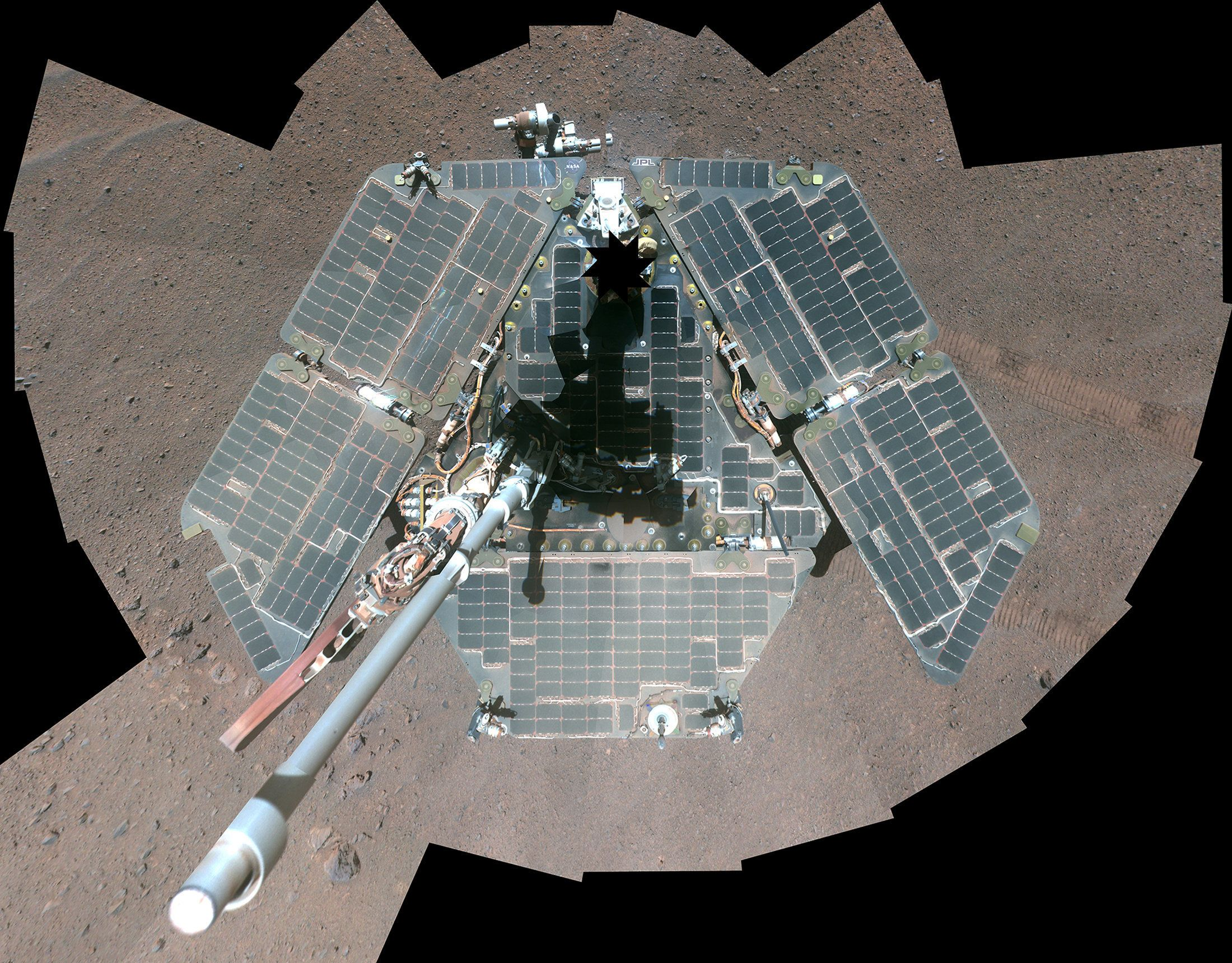 A self-portrait of NASA's Mars Exploration Rover Opportunity, using a combination of multiple frames taken by Opportunity's p