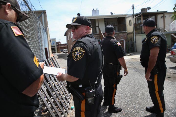 Police prepare to evict tenants in Atlanta.
