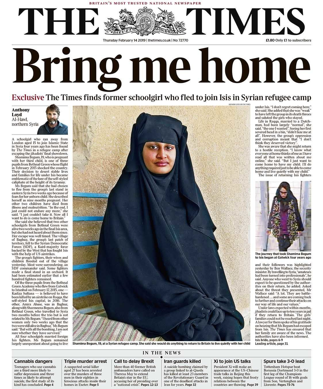The Times newspaper tracked Begum down to a refugee camp in northern