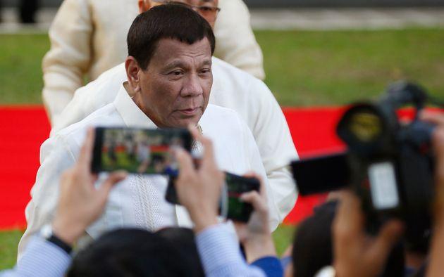 Philippine President Rodrigo Duterte talks to the media on Jan. 16, 2019, at the Presidential Palace...