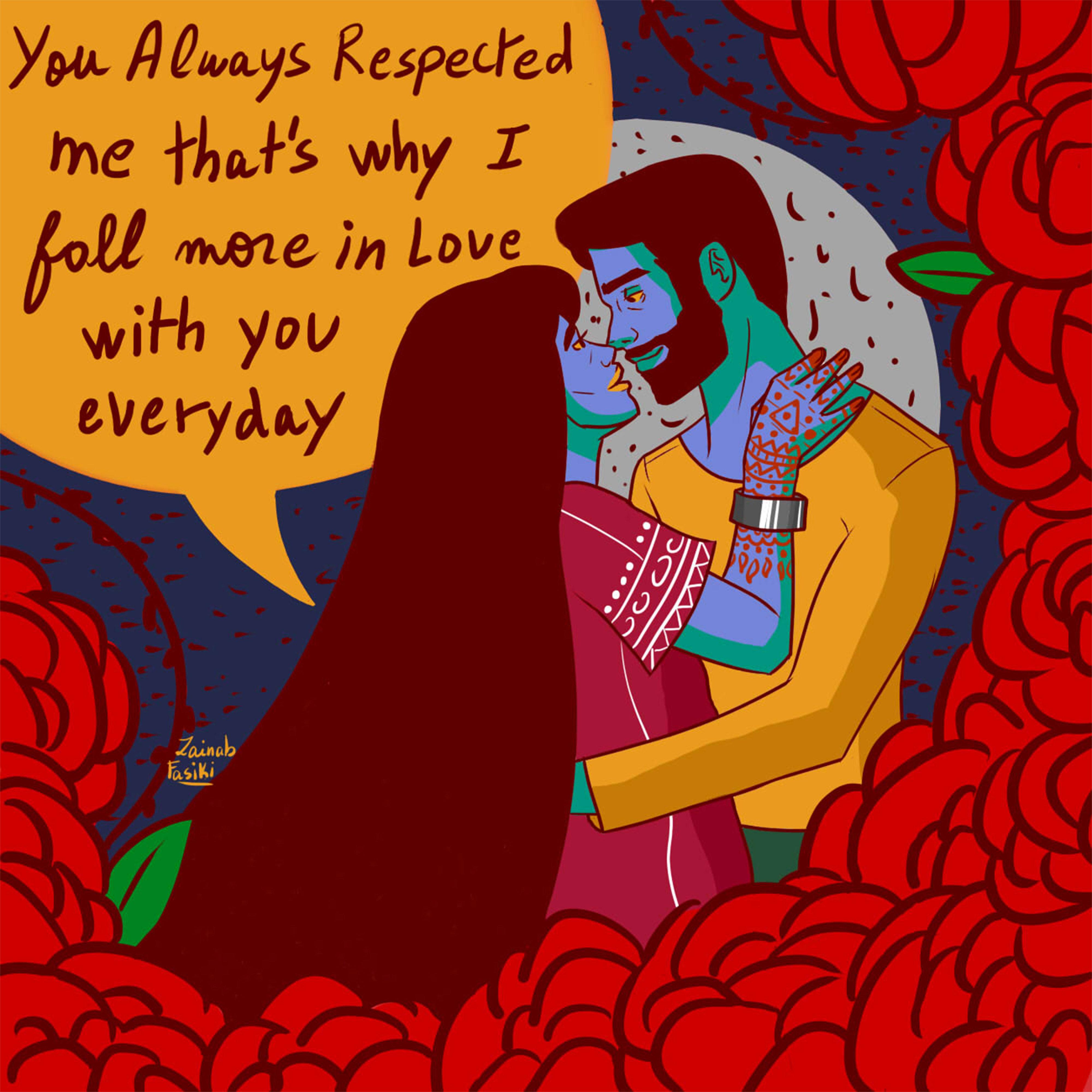 Pour l'ONG Oxfam, Zainab Fasiki crée une carte de Saint-Valentin prônant le respect dans les