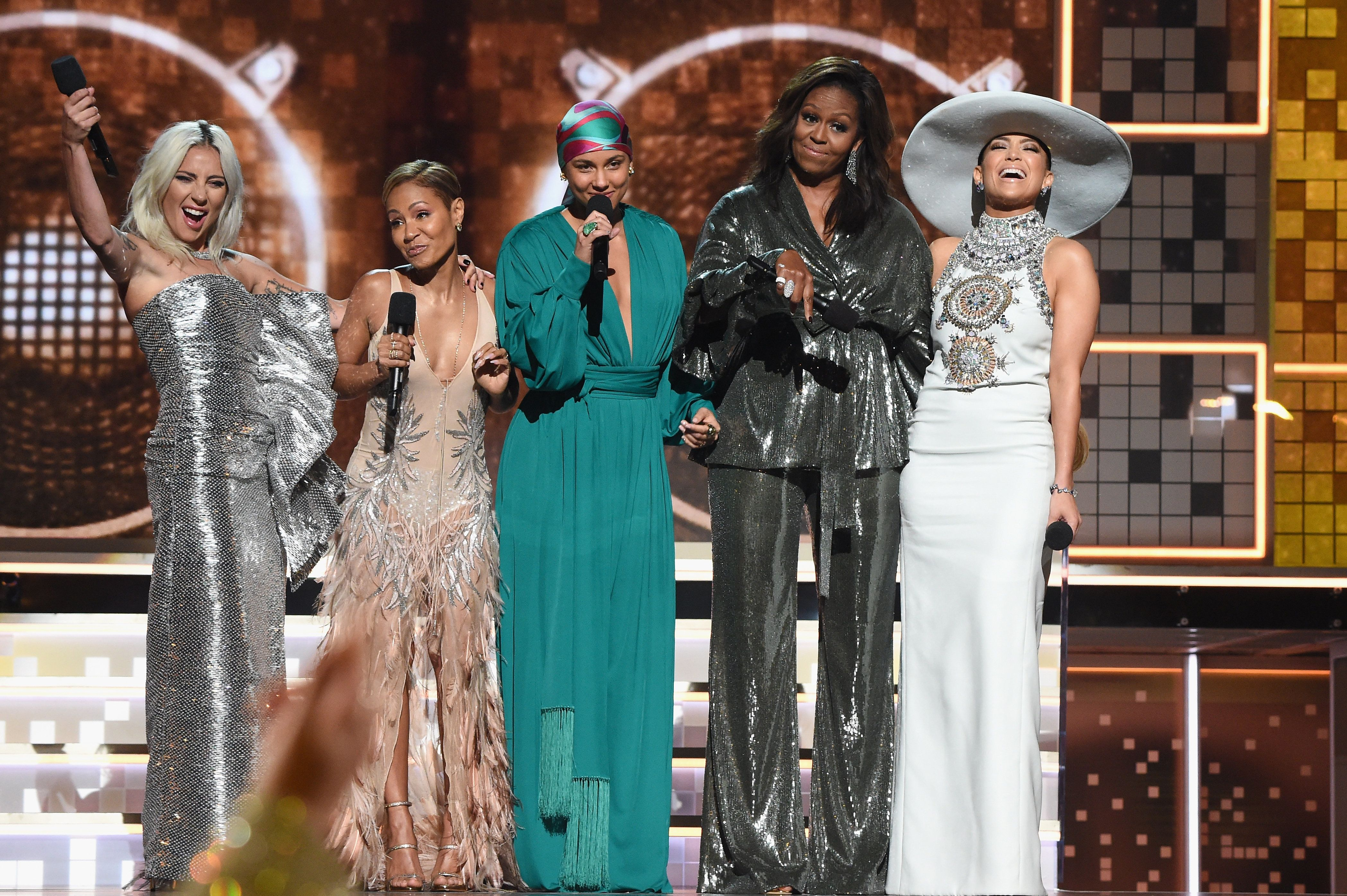LOS ANGELES, CA - FEBRUARY 10:  (L-R) Lady Gaga, Jada Pinkett Smith, Alicia Keys, Michelle Obama and Jennifer Lopez speak onstage during the 61st Annual GRAMMY Awards at Staples Center on February 10, 2019 in Los Angeles, California.  (Photo by Kevin Mazur/Getty Images for The Recording Academy)