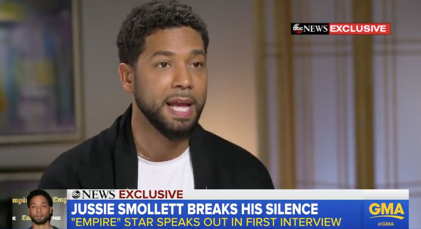Smollett talks to GMA about racist and homophobic attack