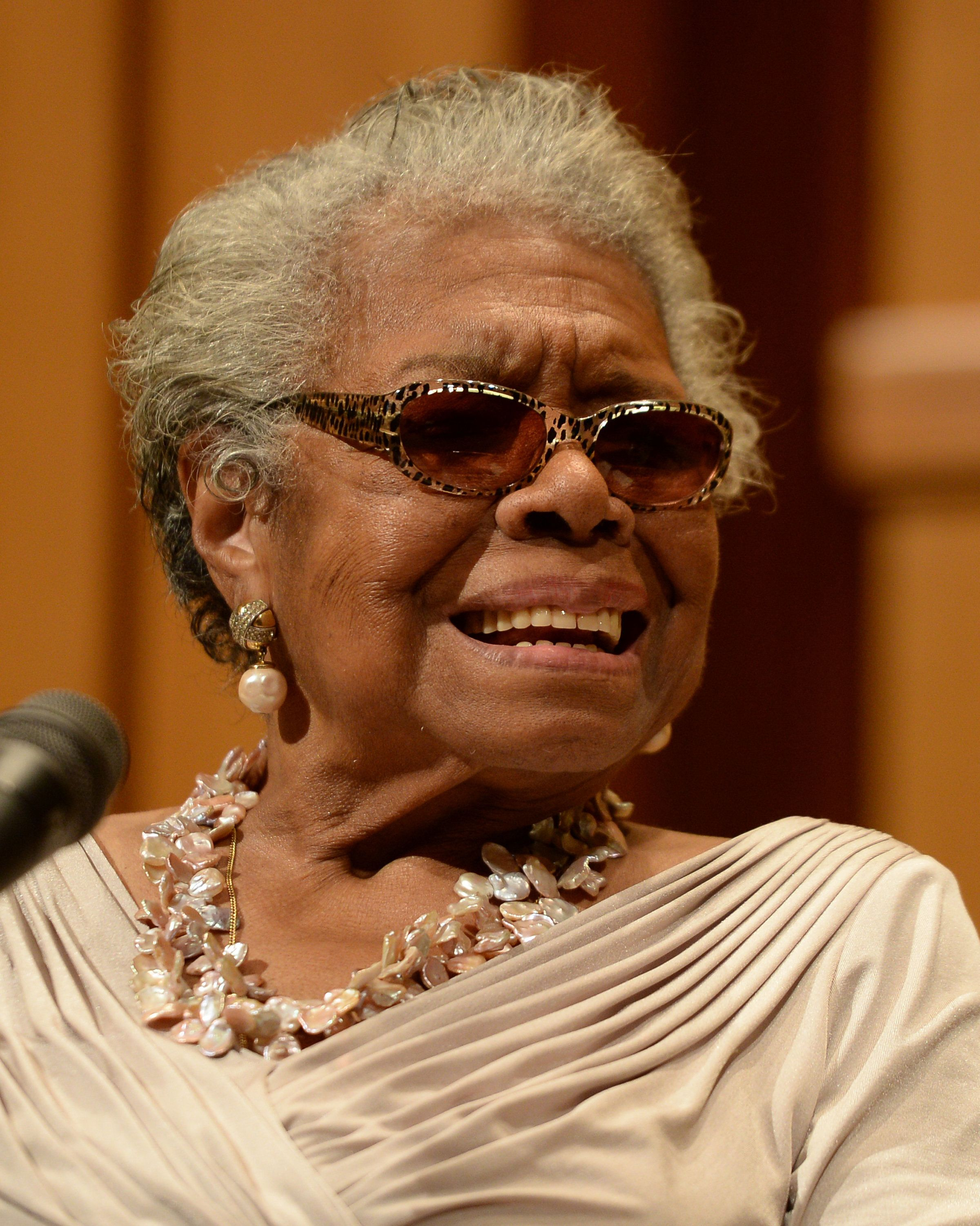 BOCA RATON, FL - JANUARY 16: Dr. Maya Angelou speaks at Congregation B nai Israel on January 16, 2014 in Boca Raton, Florida. (Photo by Larry Marano/Getty Images)