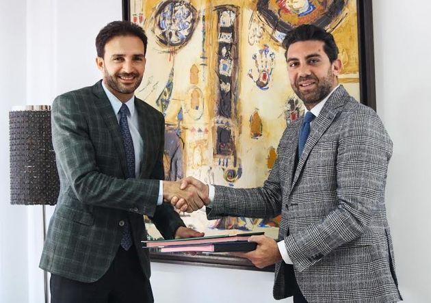 A droite,Mohamed Laraki, PDG du groupe Geomedia. Agauche, Mehdi Tazi,Président Directeur...