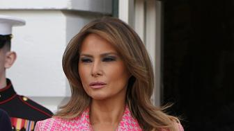 U.S. President Donald Trump, left, and First Lady Melania Trump wait for the arrival of Ivan Duque, Colombia's president, not pictured, at the White House in Washington, D.C., U.S. on Wednesday, Feb. 13, 2019. Trumpsaid that ifNicolas Maduroholds onto power in Venezuela then there are numerous potential ways to deal with the situation. Photographer: Joshua Roberts/Bloomberg via Getty Images