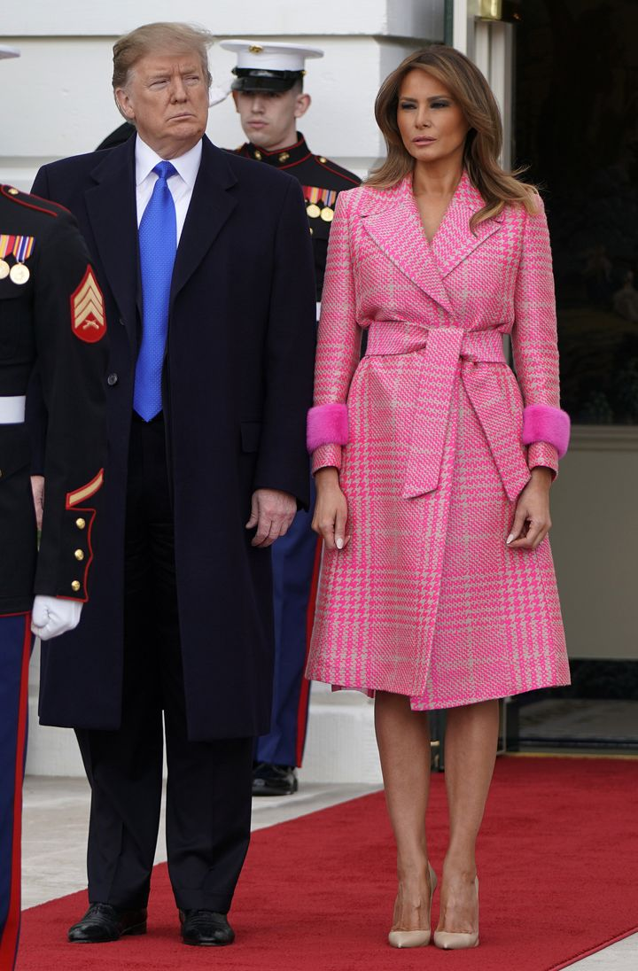 President Donald Trump and first lady Melania Trump wait for the arrival of Ivan Duque, Colombia's president at the White Hou