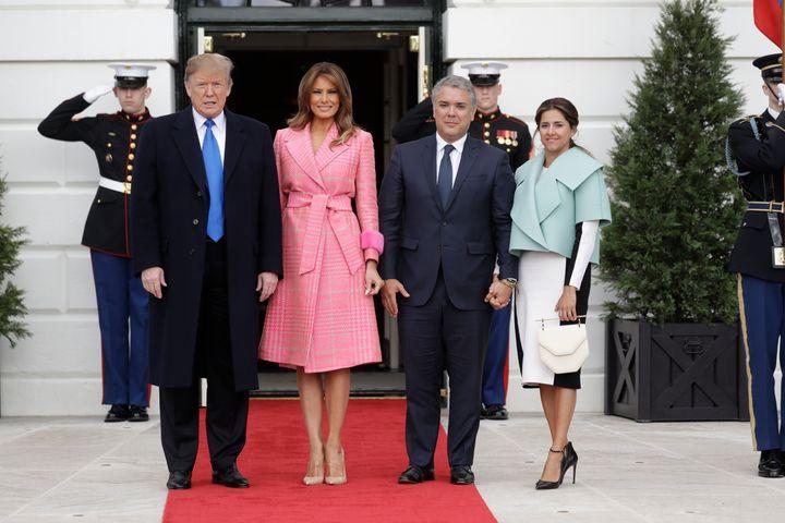The Trumps alongsideIvan Duque Marquez and Maria Juliana Ruiz Sandoval on Wednesday.