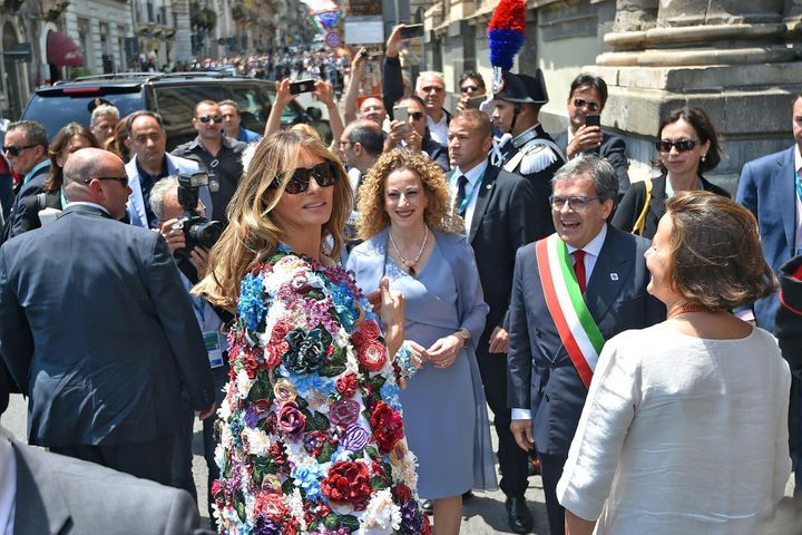 First lady Melania Trump arrives for a visit at the Chierici Palace City Hall of Catania on the sidelines of a G7 summit on M