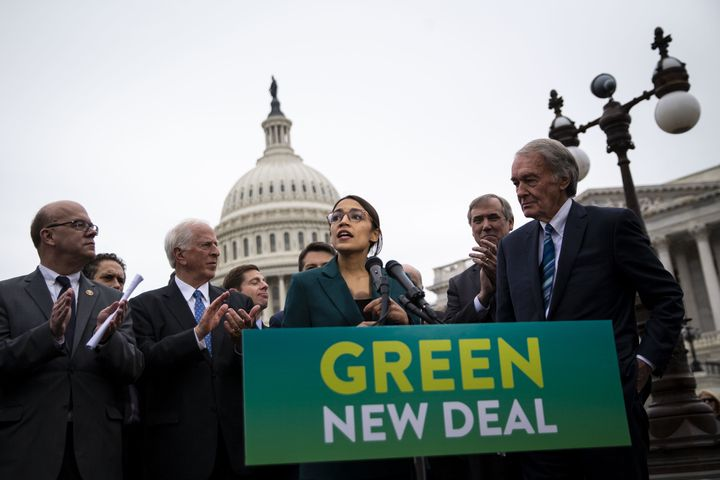 Rep. Alexandria Ocasio-Cortez (D-N.Y.) announced her Green New Deal resolution last Thursday in front of the Senate.
