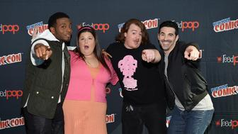 NEW YORK, NY - OCTOBER 10:  (L-R) Kel Mitchell, Lori Beth Denberg, Danny Tamberelli and Josh Server attend The Splat: All That Reunion At New York Comic-Con on October 10, 2015 in New York City.  (Photo by Bryan Bedder/Getty Images for Nickelodeon)